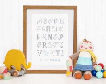 Boy name nursery art - personalised alphabet poster print - boy name alphabet - ABC nursery art - alphabet nursery art - personalised name a