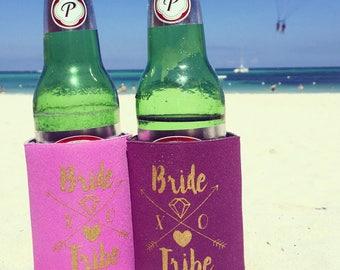 Bride Tribe Drink Coolers  | Boho Bachelorette Party Favors, Purple + Gold Arrow Bride Tribe Drink Cooler Favors, Beer Bottle Can Holders