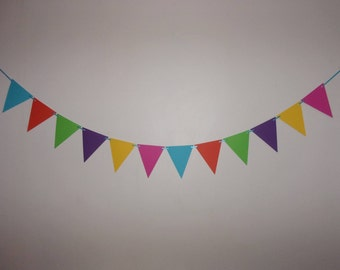 """Colorful Pennant Banner - 6"""" x 7"""" Flags - Hot Pink, Yellow, Dark Purple, Light Green, Orange & Turquoise Cardstock - Birthday Backdrop Prop"""
