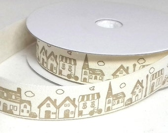1 Metre Cotton Tape/Ribbon Houses Buildings Cream/ Beige 15 mm 100% Cotton Trim Christmas Birthday New Home Gift Wrap Ribbon Trim 15 mm