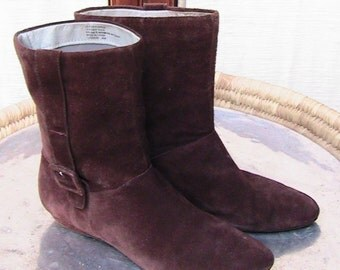 Size 8 1/2 Brown Suede Boot with decorative side belted buckles