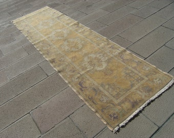 Muted_Color  Anatolian  Turkish  OUSHAK  Runner   Carpet  Rug  34,6'' X  119,6'' inches