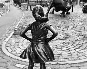 Fearless Girl Statue, New York Photography, Charging Bull, Wall Street, Black and White Print, NYC, Girl Power, Girls Room Decor, Wall Art