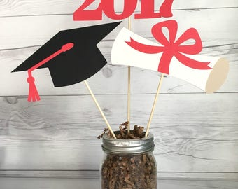 Graduation Centerpiece / High School Graduation / College Graduation / Graduation Mason Jar /Graduation Party Centerpieces /Class of 2017
