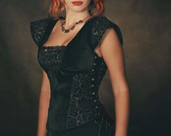 Black medieval corset, Victorian black velvet corset