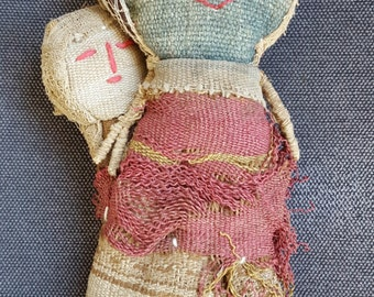 Antique or Vintage Inca Grave Doll Chancay Folk Art Primitive Cloth Fiber Textile Doll With Papoose Native American Look Style