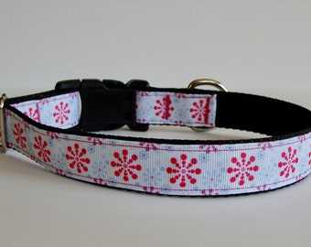 READY TO SHIP! Christmas Dog Collar Pink Snowflake Print