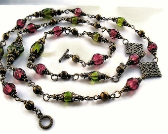 Multi Strand Green Necklace Glass Jewelry Set Vintage Style Pink Necklace Green Jewelry Extra Long Necklace Statement Jewelry Boho Necklace