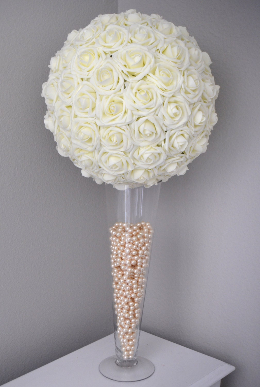 ivory flower ball  kissing ball  wedding centerpiece  flower