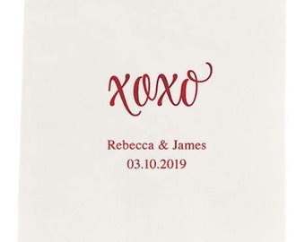 XOXO Dinner Size Napkins - Set of 80 Personalized Dinner Napkins - Wedding Reception - Love You Like XO - Engagement Party - Birthday Party