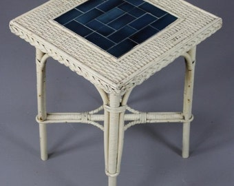 Small Wicker & Tiled Side Table