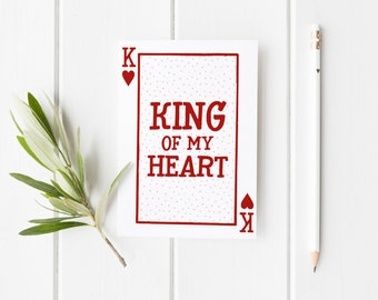 King Of My Heart, Pun Valentine Card, Card For Anniversary, Anniversary Card, Funny Anniversary Card, King Of Hearts Card, Card For Husband