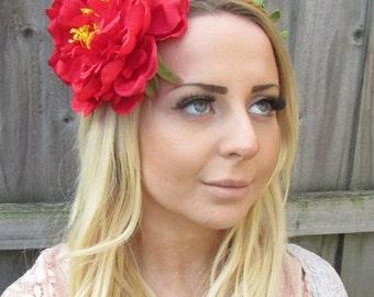 Large Red Peony Flower Headband Headpiece Hair Crown Fascinator Festival 1889