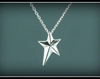 Star necklace, silver star necklace, sterling silver star, small star, dainty silver star, modern, everyday necklace, handmade star