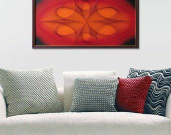 Fine String Art - Ellipse in Red Orange - Abstract Wall Art - 3D Art - Framed 62x32cm - Sacred Geometry - Mandala - Special Gift
