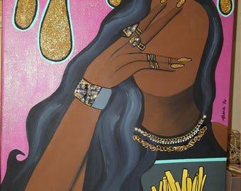 """Black art """"Fry Day"""" Glitter Girl"""