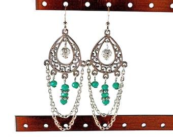 Turquoise and Silver Dangle Boho Earrings - silver earrings, chain earrings, tribal earrings, dangle earrings, chandelier earrings