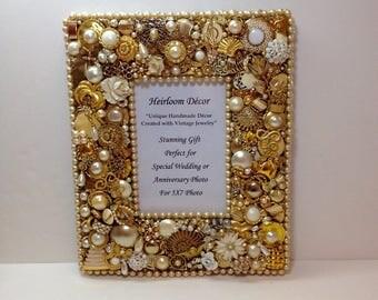 gold jeweled photo frame wedding photo frame wedding gift anniversary gift gold anniversary gift 5x7 photo frame embellished frame