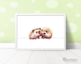 Woodland hedgehog twin baby gift - woodland nursery hedgehog print, woodland animals nursery artwork, twin nursery decor, gift for twins