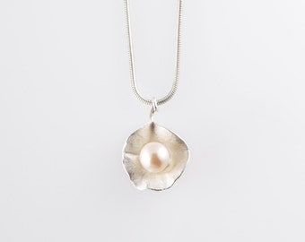 Sterling Silver Petal Flower Necklace with Pearl