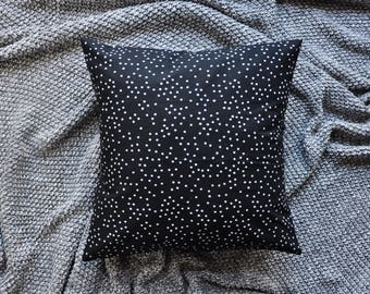 Black Cushion Cover, Throw Pillow Cover, Throw Cushion Cover, Decorative Cushion Cover, Decorative Pillow Cover - Sprinkle Dots