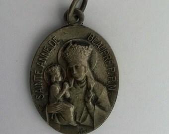 Vintage Saint Anne of De Beaupre P.P.N.  Karo Medal Oval Silver tone Religious Pendant Saints Medal St. Anne Of De Beaupre P.P.N. Karo Medal
