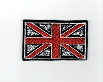 Union Jack Flag - Crushed Crystals - Iron on Applique - Embroidered Patch - 604122