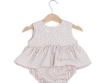 Beige Dots Top & Bloomers Baby Girl Set
