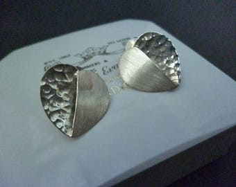 """Hand made silver heart earring studs - Hammered and matte silver - 925 - sterling silver - 0.75"""" x 0.6"""""""
