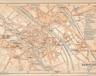 1910 Bamberg Germany Antique Map