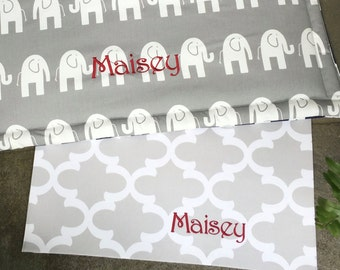 Personalized Dog Bowl Mat || French Grey Quatrefoil Water Resistant Puppy Gift Placemat  || Custom Food+Water Mat by Three Spoiled Dogs