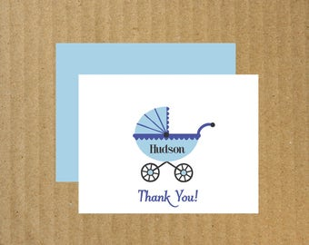 Baby Thank You Cards, Set of 50, Baby Stroller Note Cards, Baby Thank You Cards
