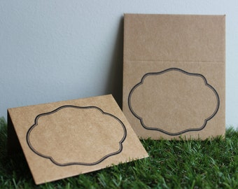 Kraft Paper Place Cards with Black Border 20pcs - Plain