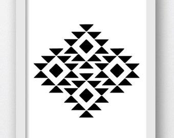 Geometric Print, Black and White, Triangles, Aztec Print, Geometric Art, Tribal Art, Download Art Prints, Download Modern Abstract Print