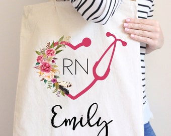 Nurse Tote Bag Personalized Tote Bag Gift For Nurse Stethoscope bag LPN tote bag Floral Tote bag Canvas Tote bag RN gift Tote bag Nurse Bag