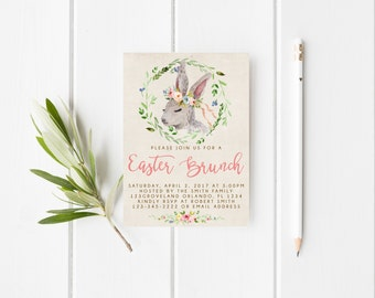 Spring Floral Easter Brunch Invitation Easter Egg Hunt Invitation Easter Buffet Invitation Easter Invitation Lunch Invitation Dinner Party