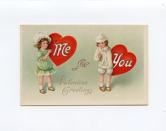 Vintage Valentine's Day Postcard Girl in Green and Boy in White Carrying Red Hearts for Me And You by Samson Brothers Series 7205 - 7723Pc