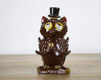 Vintage Owl Decanter - I Don't Give A Hoot - Redware - Japan - 1970's
