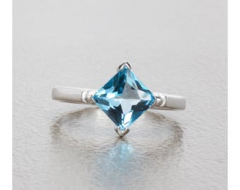 2.00 Carat Radiant Cut Natural Swiss Blue Topaz Ring in Sterling Silver, Anniversary Ring, Promise Ring