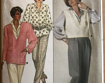 Butterick 3416 - 1980s Top, Blouse and Pants - Size 8 10 12