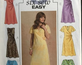 Butterick B4723 - Mock Wrap Dress with Gather, Ruffle, and Rosette Detail Options - Size 16 18 20 22