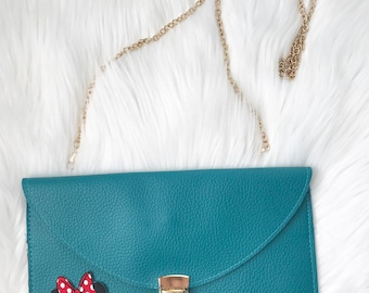 leather envelope clutch with patch / minnie mouse