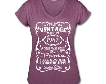 "50th Birthday Shirt for Women - **VELVETY PRINT** *Tri-Blend Colors* - 50th Birthday Gift Ideas for Women ""Made in 1967"" Vneck Shirt for Her"