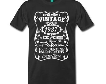 80th Birthday Gift Ideas for Men Unique T-shirt - ***Velvety Print*** - Made in 1937 Tshirt Gift - All Sizes: S-5XL