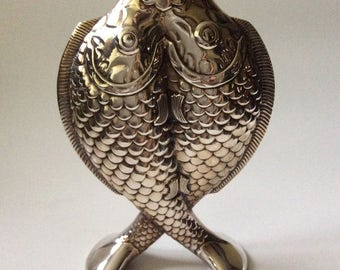 """Christofle France Art Nouveau """"Deux Poissons"""" Silverplate Vase"""