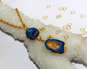 24k Gold Electroformed Teal Blue Agate Druzy Geode & Blue Druzy Necklace / Gemstone Necklace, Gold Layer Drussy Gypsy Necklace DRN07