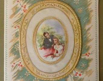 Vintage Christmas Card / Large Greeting Card / Vintage Paper Ephemera