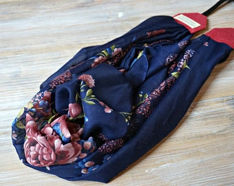 Navy Blue Floral Scarf Camera Strap -  DSLR Camera Strap - Photography Accessories -  Scarf Neck Strap - Photo Studio Tools