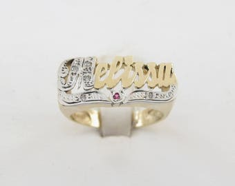 Melissa Name Ring 14k Yellow Gold Diamond And Ruby Size 6 1/2