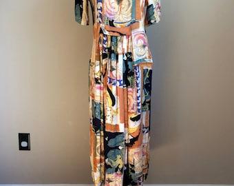 Vintage 90's 1990's Abstract art print hippie boho MIDI revival empire waist full skirt dress Medium